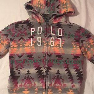 Aztec pattern polo hoodie